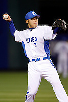 Seung-Yeop Lee of Korea during the World Baseball Championships at Angel Stadium in Anaheim,California on March 13, 2006. Photo by Larry Goren/Four Seam Images
