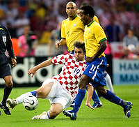 Roberto Ze (11) of Brazil in action against Niko Kranjcar (19) of Croatia. Brazil defeated Croatia 1-0 in their FIFA World Cup Group F match at the  Olympiastadion, Berlin, Germany, June 13, 2006.