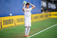 LAKE BUENA VISTA, FL - JULY 31: Tristan Blackmon #27 of LAFC throws the ball during a game between Orlando City SC and Los Angeles FC at ESPN Wide World of Sports on July 31, 2020 in Lake Buena Vista, Florida.