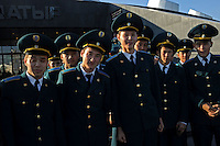 """Military cadets pose for pictures  in the newly built capitol of Kazakhstan, called Astana which translates as """"capitol"""" , 20th October 2010.<br /> <br /> PHOTO BY RICHARD JONES / SINOPIX"""