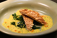 Melbourne, July 21, 2018 - The Red Mullet with Potato Scales dish from the Salon Paul Bocuse menu at Philippe Restaurant in Melbourne, Australia. Photo Sydney Low