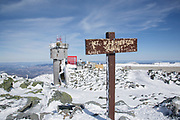 The summit of Mount Washington in the White Mountains, New Hampshire during the winter months. Mount Washington, at 6,288 feet, is the tallest mountain in the northeastern United States.
