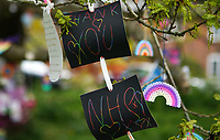 High Wycombe, UK. 16th April, 2020.<br /> A tree is decorated in positive messages & Thank You's to the NHS during the Covid-19 Pandemic as the UK Government advice to maintain social distancing and minimise time outside in High Wycombe on 16 April 2020. Photo by PRiME Media Images