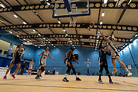 Yemisi Mefful of Newcastle Eagles shoots from under the basket during the WBBL Championship match between Sevenoaks Suns and Newcastle Eagles at Surrey Sports Park, Guildford, England on 20 March 2021. Photo by Liam McAvoy