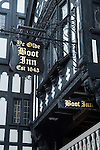 Chester Cheshire UK The Boot Inn pub sign dating from 1643 Eastgate  Street.
