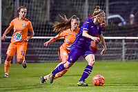 Anderlecht defender Laura Deloose (14) and Gent's defender Lindsey Van Belle (14) pictured during a female soccer game between RSC Anderlecht Dames and AA Gent Ladies on the seventh matchday of the 2020 - 2021 season of Belgian Womens Super League , friday 13 th of November 2020  in Overijse , Belgium . PHOTO SPORTPIX.BE | SPP | STIJN AUDOOREN