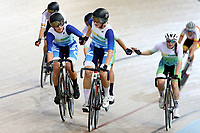 Jessie Hodges and Ally Wollaston finish first in the Womens Elite & U19 Madison 20km race during the 2020 Vantage Elite and U19 Track Cycling National Championships at the Avantidrome in Cambridge, New Zealand on Sunday, 26 January 2020. ( Mandatory Photo Credit: Dianne Manson )
