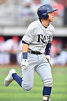 Princeton Rays catcher Roberto Alverez (13) runs to first base during a game against the Johnson City Cardinals at TVA Credit Union Ballpark on August 9, 2018 in Johnson City, Tennessee. The Rays defeated the Cardinals 10-2. (Tony Farlow/Four Seam Images)