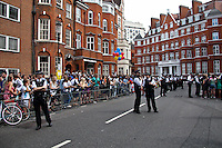 London, 19/08/2012. Today, Julian Assange made his first speech after two months (19th June 2012) he has been living as a refugee in the Ecuadorian Embassy in London. On Thursday he was granted Diplomatic Asylum by the President of Ecuador, Rafael Correa. Previously, Baltasar Garzón (former Spanish Judge, now head of Assange legal team), Tariq Ali, Craig Murrey and others had made speeches in support and solidarity with the Australian Journalist founder of Wikileaks.