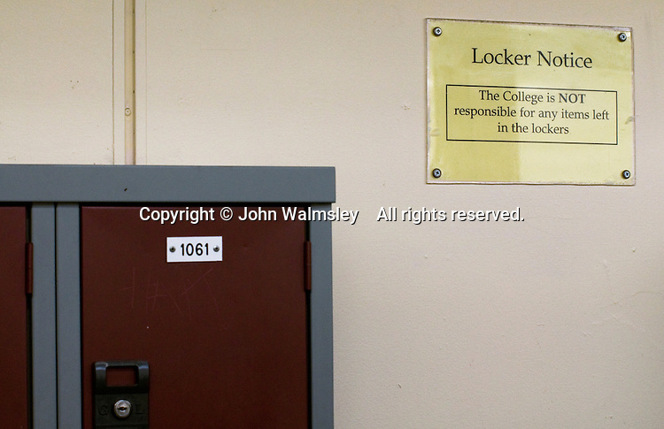 Notice declaring the college is not responsible for items left in the lockers, State Secondary Roman Catholic school.