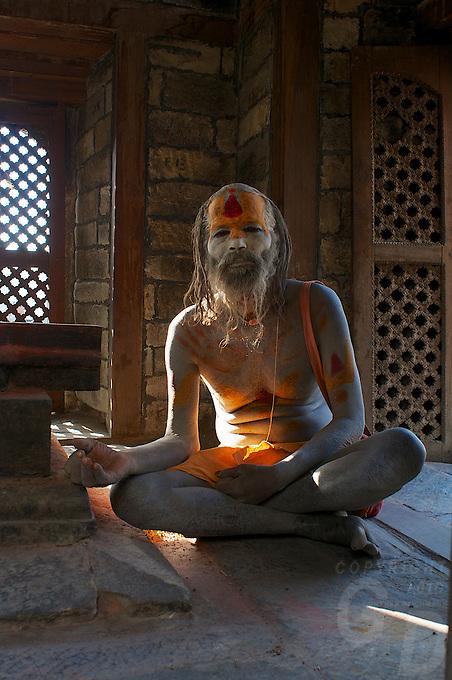 Sadhus at the Pashupati Templs and cremation area Kathmandu, Nepal