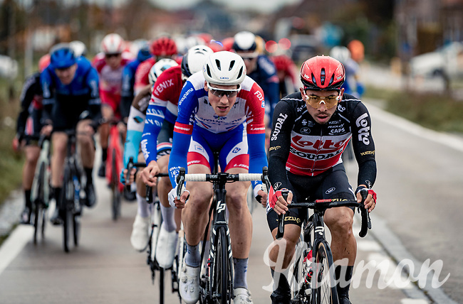 Caleb Ewan (AUS/Lotto-Soudal) pacing the front of the race<br /> <br /> 44th AG Driedaagse Brugge-De Panne 2020 (1.UWT / BEL)<br /> 1 day race from Brugge to De Panne (203km shortened to 188km due to the windy weather conditions) <br /> <br /> ©kramon