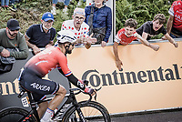 Nacer Bouhanni (FRA/Arkéa-Samsic) cheered on by the fans<br /> <br /> Stage 2 from Perros-Guirec to Mûr-d-Bretagne, Guerlédan (184km)<br /> 108th Tour de France 2021 (2.UWT)