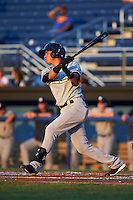 Staten Island Yankees shortstop Angel Aguilar (12) at bat during a game against the Batavia Muckdogs on August 26, 2016 at Dwyer Stadium in Batavia, New York.  Staten Island defeated Batavia 6-2.  (Mike Janes/Four Seam Images)