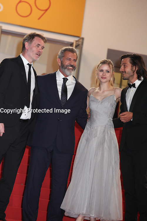 DIRECTOR JEAN-FRANCOIS RICHET, MEL GIBSON, ERIN MORIARTY AND DIEGO LUNA - RED CARPET OF THE FILM 'BLOOD FATHER' AT THE 69TH FESTIVAL OF CANNES 2016