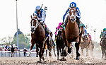 NEW ORLEANS, LOUISIANA - MARCH 23: By My Standards #5, ridden by Gabriel Saez, pulls an upset win in the Louisiana Derby on Louisiana Derby Day at the Fair Grounds Race Course in New Orleans, Louisiana. Scott Serio/Eclipse Sportswire/CSM