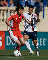 Li Tie shields the ball from Benny Feilhaber. The USA defeated China, 4-1, in an international friendly at Spartan Stadium, San Jose, CA on June 2, 2007.