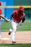 Jermaine Curtis (5) of the Springfield Cardinals rounds third base after hitting a home run during a game against the San Antonio Missions on May 30, 2011 at Hammons Field in Springfield, Missouri.  Photo By David Welker/Four Seam Images