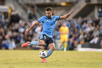18th April 2021; Leichardt Oval, Sydney, New South Wales, Australia; A League Football, Sydney Football Club versus Adelaide United; Kosta Barbarouses of Sydney takes a shot on goal but it was saved