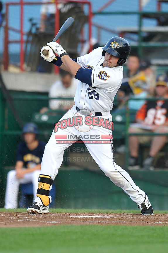 First baseman Eric Aguilera #29 of the Burlington Bees swings against the Lansing Lugnuts at Community Field on July 28, 2014 in Burlington, Iowa. The Lugnuts won 9-2.   (Dennis Hubbard/Four Seam Images)