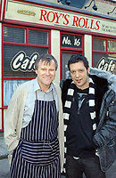 "The Hour's George Stroumboulopoulos on the set of Coronation Street with David Neilson (Roy Cropper). Coronation Street set coverage will be a part of ""The Hour in London"" week, beginning next Monday February 18. (CNW Group/CBC Television)"