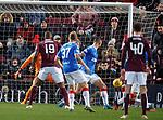 26.01.2020 Hearts v Rangers: the Ball deflects off Borna Barisic and into the net