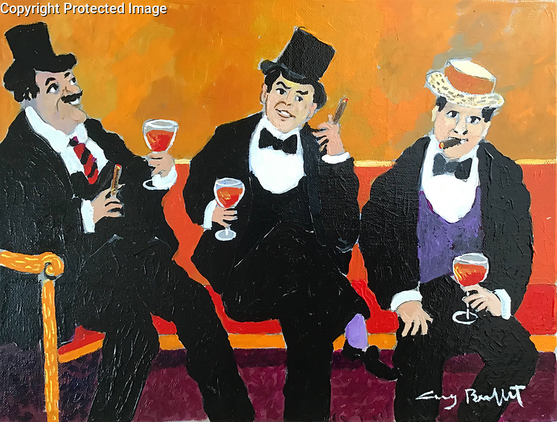"""Trois Bon Vivants""<br />  11x14 Acrylic on Canvas<br /> $5,500"