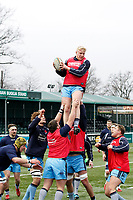 London Scottish warm up during the Greene King IPA Championship match between Ealing Trailfinders and London Scottish Football Club at Castle Bar , West Ealing , England  on 19 January 2019. Photo by Carlton Myrie/PRiME Media Images