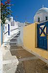 The quite town of Megalochori in Santorini, Greece.