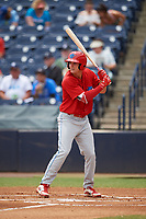 Clearwater Threshers center fielder Mickey Moniak (2) at bat during a game against the Tampa Tarpons on April 22, 2018 at George M. Steinbrenner Field in Tampa, Florida.  Clearwater defeated Tampa 2-1 (Mike Janes/Four Seam Images)