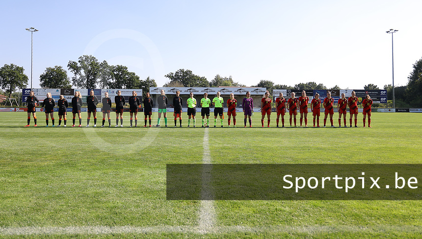 Dutch players, referees and the Belgian players at the line up before an international friendly female soccer game between the national teams of Belgium , called the Red Flames U17 and the Netherlands on Wednesday 8th of September 2020  in Kalmthout , Belgium . PHOTO SPORTPIX.BE   SPP   SEVIL OKTEM