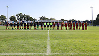 Dutch players, referees and the Belgian players at the line up before an international friendly female soccer game between the national teams of Belgium , called the Red Flames U17 and the Netherlands on Wednesday 8th of September 2020  in Kalmthout , Belgium . PHOTO SPORTPIX.BE | SPP | SEVIL OKTEM