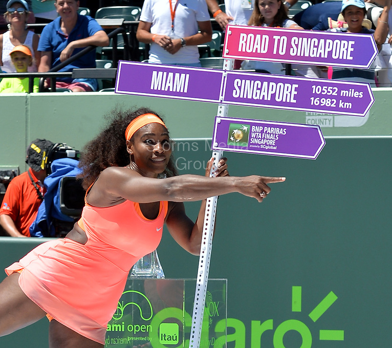KEY BISCAYNE, FL - APRIL 04: Serena Williams poses with the Butch Buchholz Trophy as she stands with Martina Navratilova after defeating Carla Suarez Navarro of Spain after the Women's Finals match on day 13 of the Miami Open at Crandon Park Tennis Center on April 4, 2015 in Key Biscayne, Florida<br /> <br /> <br /> People:  Serena Williams<br /> <br /> Transmission Ref:  FLXX<br /> <br /> Must call if interested<br /> Michael Storms<br /> Storms Media Group Inc.<br /> 305-632-3400 - Cell<br /> 305-513-5783 - Fax<br /> MikeStorm@aol.com