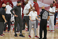 Arkansas head coach Eric Musselman disputes a call with an official, Saturday, January 9, 2021 during the first half of a basketball game at Bud Walton Arena in Fayetteville. Check out nwaonline.com/210110Daily/ for today's photo gallery. <br /> (NWA Democrat-Gazette/Charlie Kaijo)