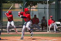 Los Angeles Angels first baseman Connor Fitzsimons (57) at bat during an Extended Spring Training game against the Chicago Cubs at Sloan Park on April 14, 2018 in Mesa, Arizona. (Zachary Lucy/Four Seam Images)
