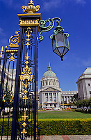 City hall with cast iron gate in San Francisco, California, USA