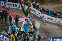 Christine Majerus (LUX/Boels Dolmans) leading early in the race.<br /> <br /> Women Elite Race<br /> UCI CX Worlds 2018<br /> Valkenburg - The Netherlands