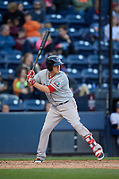 Pawtucket Red Sox first baseman Steve Selsky (20) bats during a game against the Scranton/Wilkes-Barre RailRiders on May 15, 2017 at PNC Field in Moosic, Pennsylvania.  Scranton defeated Pawtucket 8-4.  (Mike Janes/Four Seam Images)