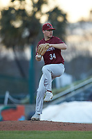 Saint Joseph's Hawks relief pitcher Noah Weber (34) in action against the Western Carolina Catamounts at TicketReturn.com Field at Pelicans Ballpark on February 23, 2020 in Myrtle Beach, South Carolina. The Hawks defeated the Catamounts 9-2. (Brian Westerholt/Four Seam Images)