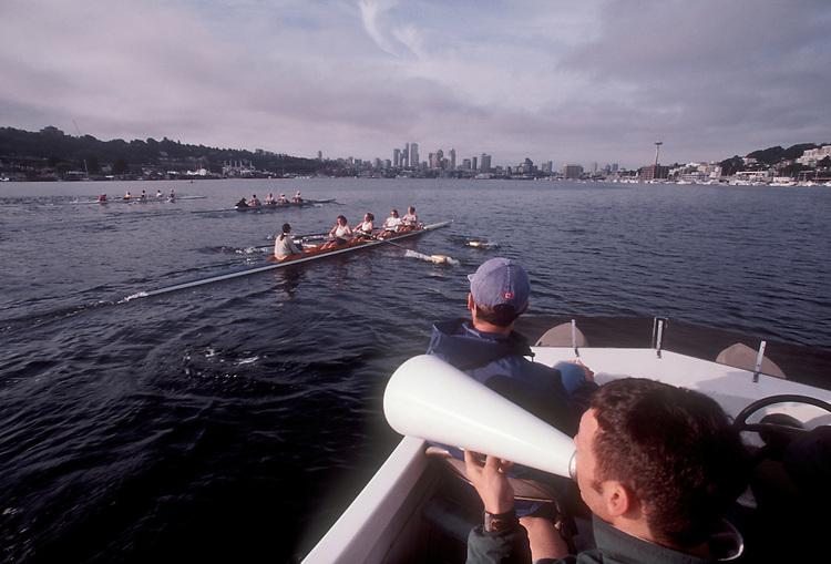 Rowing, Lake Washington Rowing Club Coach instructing women's crews, Lake Union, Seattle,