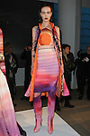 Model poses in an outfit from the Carlos de Moya collection during the Epson Digital Couture Fall Winter 2017 fashion presentation on February 7, 2017 in the IAC Building, during New York Fashion Week Women Fall 2017.