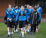 Robbie Crawford and Fraser Aird leading the players out for training