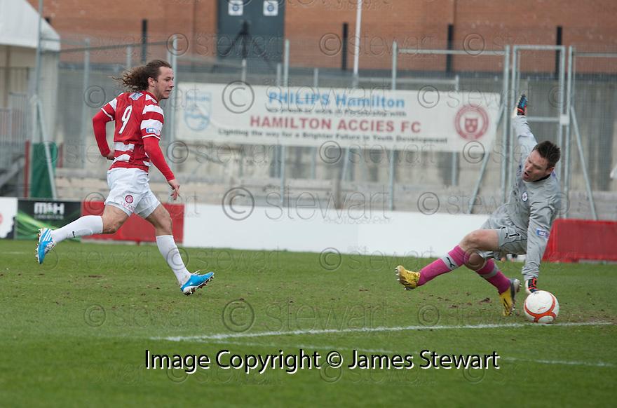 Accies Stevie May sees his shot saved by Raith goalkeeper David McGurn.