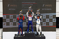 Race 1, GT3 USA, Platinum Masters Podium, #99 Kelly-Moss/AM Motorsports, Porsche 991 / 2019, GT3CP: Alan Metni (M), #20 Wright Motorsports, Porsche 991 / 2019, GT3P: Fred Poordad (M), #56 Topp Racing, Porsche 991 / 2018, GT3P: David Baker (M)