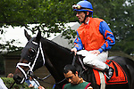 Jockey Richard Migliore aboard Unbridled Bele before the Obeah Stakes at Delaware Park in New Stanton, Delaware 06.20.09