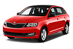 2018 Skoda Rapid Spaceback Ambition 5 Door Hatchback angular front stock photos of front three quarter view