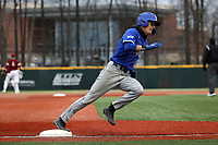 ELON, NC - FEBRUARY 28: Jordan Schaffer #1 of Indiana State University races around third base on his way to scoring a run during a game between Indiana State and Elon at Walter C. Latham Park on February 28, 2020 in Elon, North Carolina.