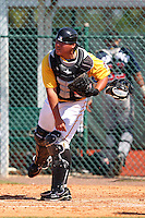 Pittsburgh Pirates catcher Jin-De Jhang #27 during an Instructional League game against the Atlanta Braves at Pirate City on October 14, 2011 in Bradenton, Florida.  (Mike Janes/Four Seam Images)