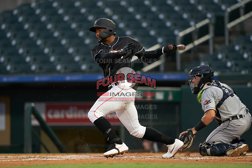 Jupiter Hammerheads James Nelson (20) at bat in front of catcher Brady Policelli (7) during a Florida State League game against the Lakeland Flying Tigers on August 12, 2019 at Roger Dean Chevrolet Stadium in Jupiter, Florida.  Jupiter defeated Lakeland 9-3.  (Mike Janes/Four Seam Images)