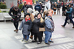 "The cast of TLC's ""7 Little Johnstons"" filming promoting filming a visit to Times Square on January 4, 2019 in New York City."